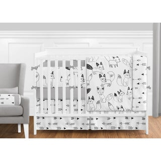 Sweet Jojo Designs Black and White Fox Collection 9-piece Crib Bedding Set