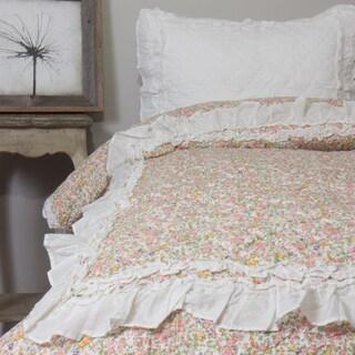 Addie Floral Ivory Cotton Quilt