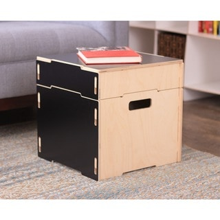 Square Wooden Storage Ottoman