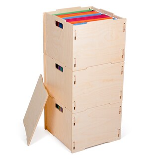 Modern Wood Hanging File Boxes