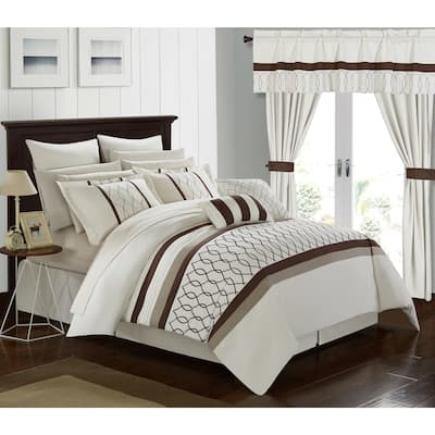 Chic Home 24-Piece Lance Bed In a Bag Comforter Set, Beige