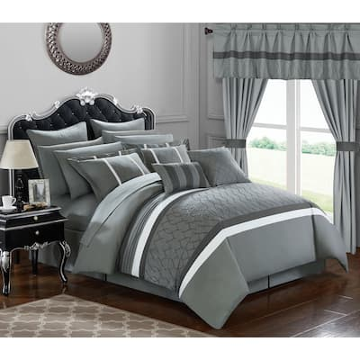 Chic Home 24-Piece Lance Bed In a Bag Comforter Set, Grey