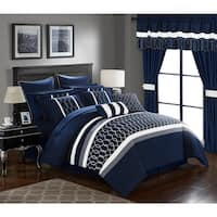 Lance Embroidered Applique Navy Microfiber 24-piece Bed In a Bag with Sheet Set