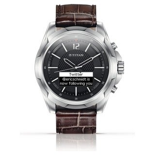 Titan Smartwatch Stainless with Brown Strap (N3U45AA)