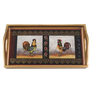 Reverse Painting on Glass 12-inch x 7-inch Rooster Tray
