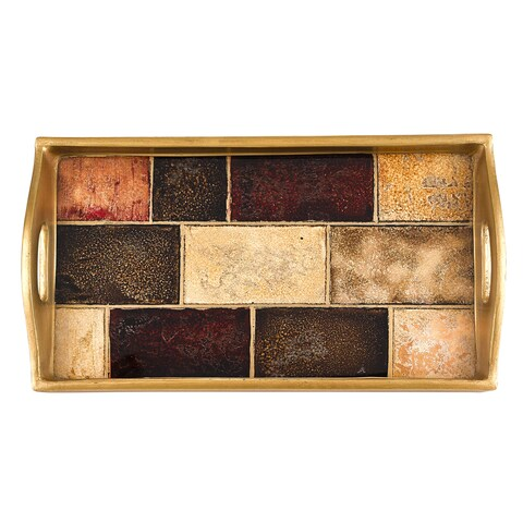 """Badash Reverse Painting on Glass Magnolia Tray with Wood Frame (18"""" x 12"""")"""
