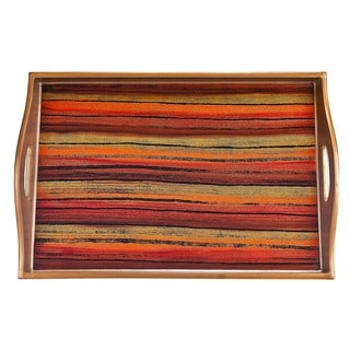 Badash Glass/Wood 18-inch x 12-inch Reverse Painting Sunset Tray