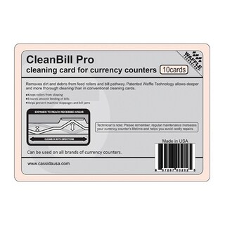 Cassida Cleanbill Pro Cleaning Card with Waffles for Currency Counters (Pack of 10)