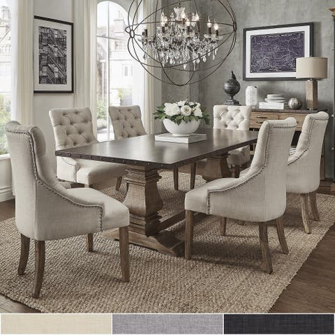 Voyager Wood and Zinc Balustrade 7-Piece Rectangle Dining Set by iNSPIRE Q Artisan