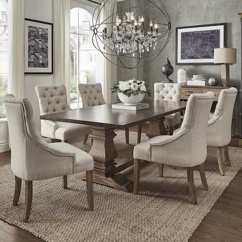 Voyager Wood And Zinc Barade 7 Piece Rectangle Dining Set By Inspire Q