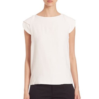 Antonio Berardi Women's White Crepe Sleeveless Cape Top