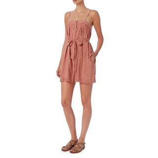 St. Roche Women's Kiki Blush Cotton Belted Eyelet Dress