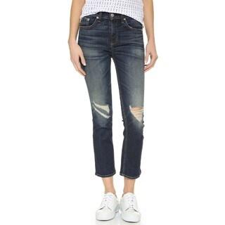 Rag & Bone Women's Blue 10-inch Crop Jeans With Holes