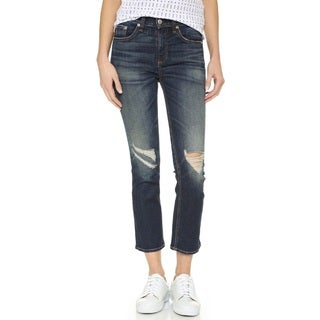 Rag & Bone Women's Blue 10-inch Crop Jeans With Holes