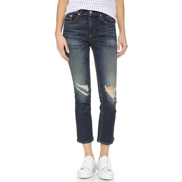 4d2a020970df Shop Rag   Bone Women s Blue 10-inch Crop Jeans With Holes - Free Shipping  Today - Overstock - 14521686
