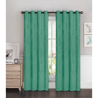 Bella Luna Faux Suede Room Darkening Extra Wide 96-inch Grommet Curtain Panel Pair - 108 x 96 in.