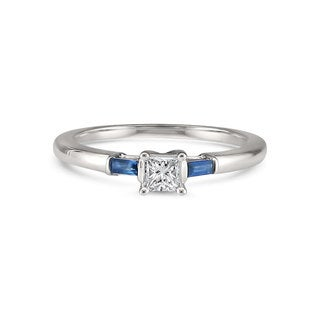 Montebello Jewelry 14k White Gold 1/5ct TDW Princess-cut White Diamond and Sapphire Engagement Ring (H-I, SI1-SI2)