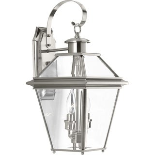 Progress Lighting Burlington Nickel-finished Aluminum 2-light Medium Wall Lantern
