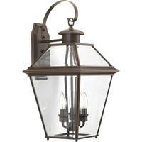 Burlington 3-light Bronze-finished Aluminum Large Wall Lantern