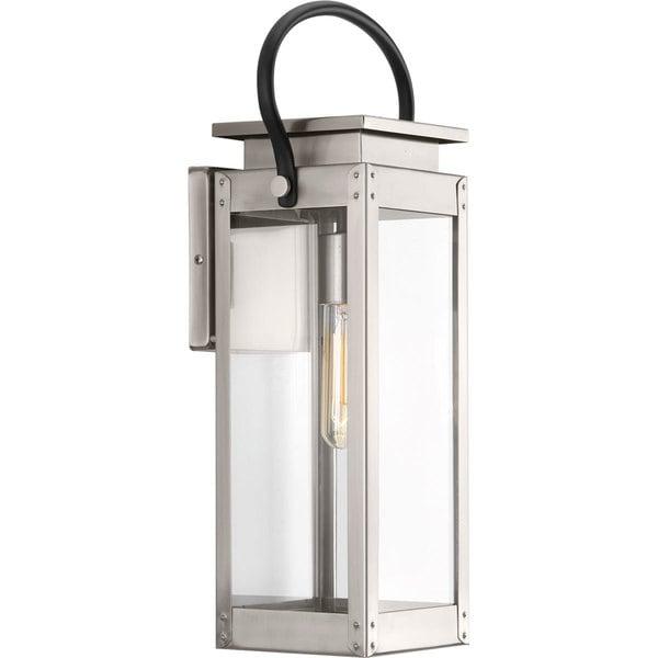 Progress Lighting Union Square Grey Stainless Steel One-light Medium Wall Lantern