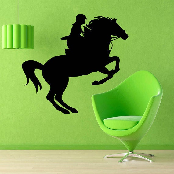 shop woman horse rider animals decor kids wall decor home vinyl wall