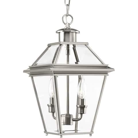 Progress Lighting Burlington Nickel-finish Aluminum 2-light Hanging Lantern