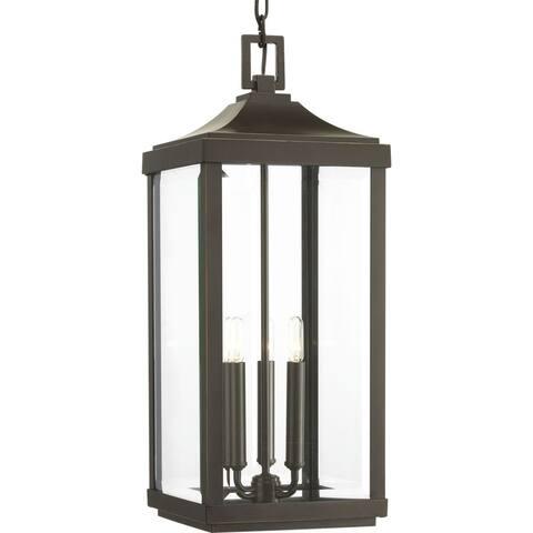 Progress Lighting Gibbes Street Bronze-finish Aluminum 3-light Hanging Lantern