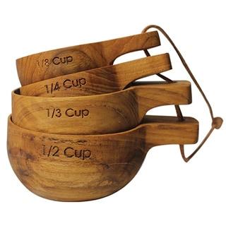 Handmade Teak Wood Measuring Cups (India)