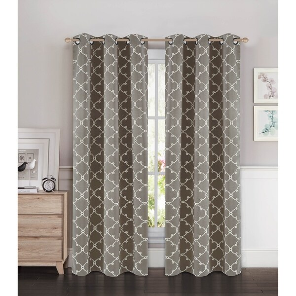 Bella Luna Selena Embroidered Thermal Room Darkening Grommet 84-inch Curtain Panel Pair - 76 x 84 in. - 76 x 84 in.. Opens flyout.