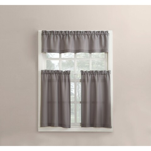 No. 918 Martine Solid Microfiber 3-piece Kitchen Curtain Valance and Tiers Set