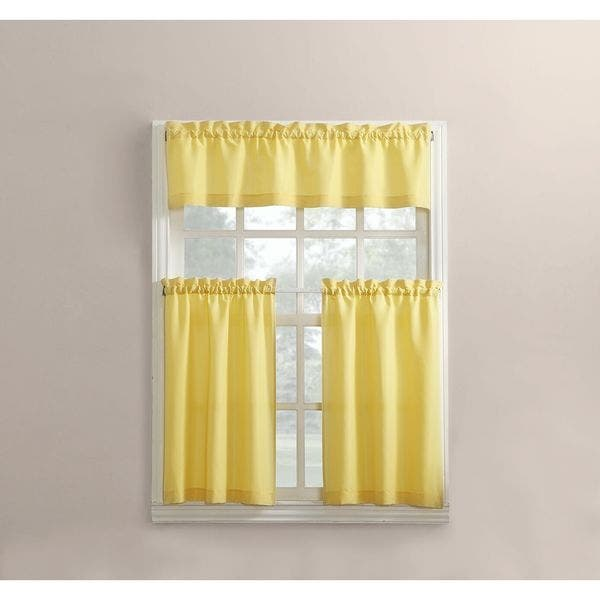 Red New Version 54 x 24 3-Piece Martine Microfiber Semi-Sheer Rod Pocket Kitchen Curtain Valance and Tiers Set