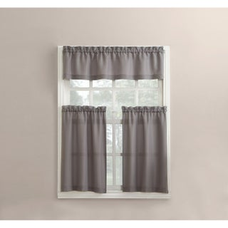 No. 918 Martine Solid Microfiber 3-piece Kitchen Curtain Valance and Tiers Set (Option: Grey)