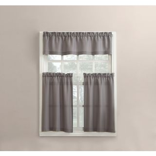 No. 918 Martine Solid Microfiber 3-piece Kitchen Curtain Valance and Tiers Set (5 options available)