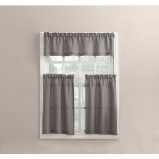 kitchen curtain sets clearance. 918 Martine Solid Microfiber 3 piece Kitchen Curtain Valance and Tiers Set For Less  Overstock