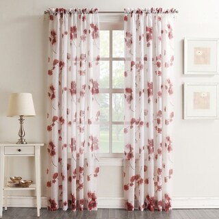 No. 918 Kiki Voile Sheer Print Rod Pocket Curtain Panel