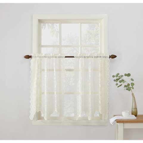 No. 918 Alison Sheer Lace Elongated Kitchen Curtain Tier Pair