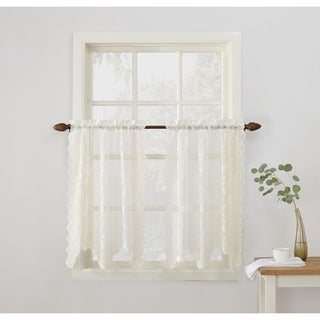 No. 918 Alison Sheer Lace Elongated Kitchen Curtain Tier Pair - 58 x 36