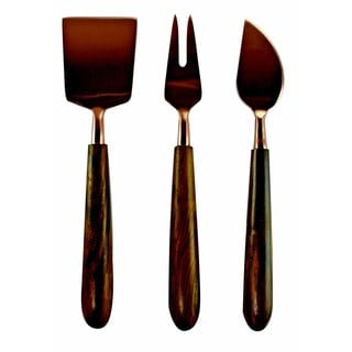 Handmade Set of 3 Copper and Wood Cheese Serving Set (India)