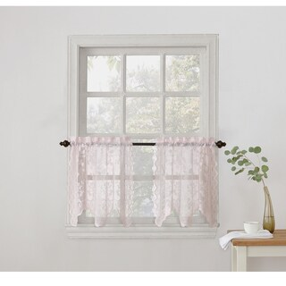 No. 918 Alison Sheer Lace Kitchen Curtain Tier Pair (Option: Pink)