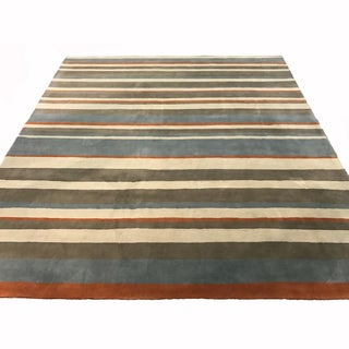 Mandara Hand-Tufted Transitional Stripes Pattern Wool Rug (12'x15')