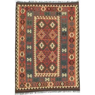 Ecarpetgallery Kashkoli Kilim Blue/ Red Wool Handwoven Rug (4'11 x 6'10)