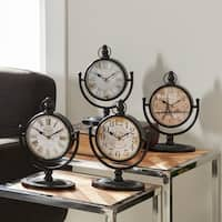 Textured Iron and Glass Desk Clock (Pack of 4)