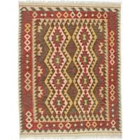 EcarpetGallery Kashkoli Kilim Red/ Yellow Wool Hand-woven Rug (5' x 6'7)