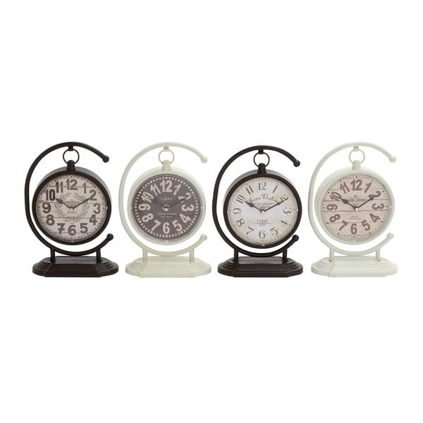 Rustic Elegance Metal Desk Clock (Set of 4)