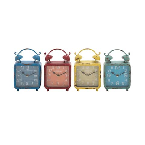 The Curated Nomad Edgehill Shabby Chic Metal Desk Clocks (Set of 4)