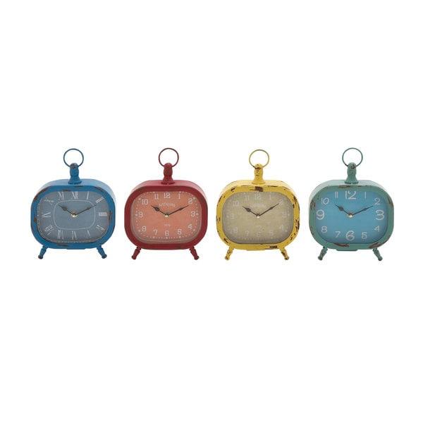 Multicolor Metal Assorted Rustic Desk Clock (Set of 4)