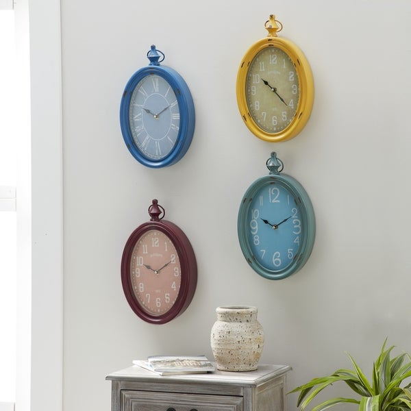 Set of 4 Eclectic 14 Inch Multicolored Oval Wall Clocks by Studio 350