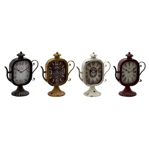 Multicolored Metal Table Clocks (Pack of 4)