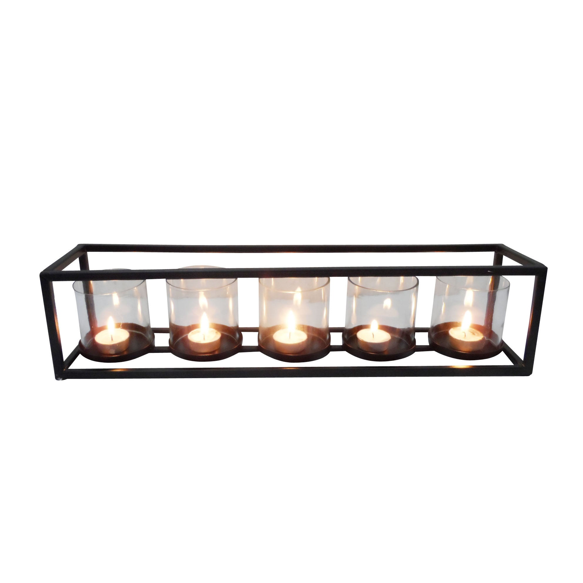 Studio 350 Metal and Glass Candleholder (Multi-Color), Mu...