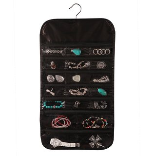 Black Satin 37-pocket Hanging Jewelry Organizer